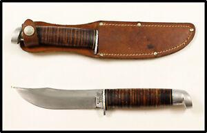 Vintage WESTEN WEST-CUT Boulder Colo K-5 hunting knife leather sheath 1950-1960