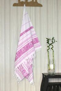 TROY Authentic Turkish Flower Patterned Peshtemal Spa, Gym, Bath Beach Towel