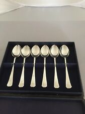 NICE BLUE BOXED SET OF 6 STERLING SILVER COFFEE SPOONS (SHEFFIELD 1920)