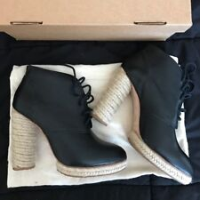LOEFFLER RANDALL Black Leather Espadrille Nadia Lace Up Ankle Boot Booties 7 B
