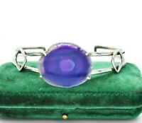 Vintage Sterling Silver Bracelet Purple agate slice Statement Art Deco #W322