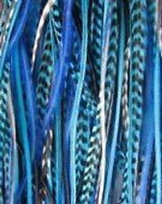 5-7 inch True Blues and Grizzly 100% Real Hair 5 Feather Extensions bonded at