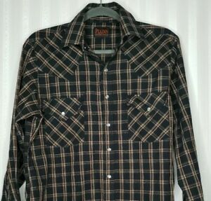 Plains Mens sz S Western Shirt Black Brown Plaid Pearl Snap Long Sleeve Cowboy