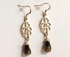 Gold Tiger Eye Stone Art Deco Earrings Drop Brown Semiprecious Pierced Plated