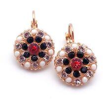 "MARIANA Swarovski Padparadscha & Jet Swarovski Gold Earrings 1"" 1045 Pomegranate"