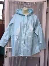 MINTY BLUE SHINY HOODED MAC / MACK / RAIN COAT SZ 18 FROM SOUTH /  FESTIVAL BNWT
