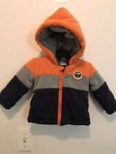 Boy QT Baby Brand Warm Winter Coat Blue/Gray/Orange W/Hood Size 12M