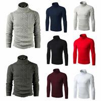 Herren Rollkragen Pullover Langarm Sweatshirt Winter Jumper Pulli Shirt Sweater