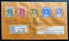 1913 St Helena Registered Cover To Birmingham  England