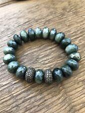 LeslieA.Designs Australian Green Moonstone Bracelet With Diamond Beads