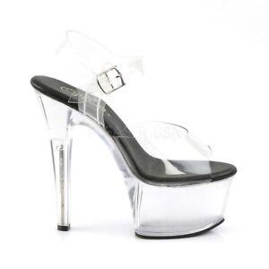 Pleaser ASPIRE-608 Ankle Strap Sandal Black/Clear- Size 14