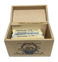 Vintage Kitchen Recipe Wooden Flower Small Storage Index Card Box W/ Blank Cards