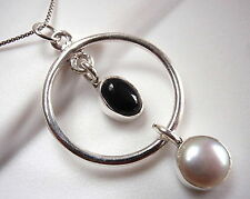 Black Onyx Cultured Pearl Hoop Necklace 925 Sterling Silver Double Gem Stone New
