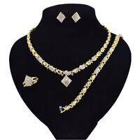 "#9 Xo sets 18k Layered Real gold filled necklace 18"" & bracelets RING SIZE 9..."