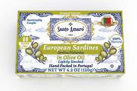12 Pack Santo Amaro European Wild Sardines in Olive Oil Lightly Smoked (120g/un)