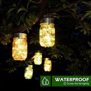 Waterproof LED Solar Mason Jar Hanging Lantern Lights Outdoor Garden Table Lamp
