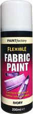 x1 Ivory White Fabric Spray Paint Leather Vinyl Crafts, Flexible 200ml 5 Colours