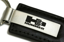 Hummer H3 Black Leather Authentic Logo Key Ring Fob Keychain Lanyard