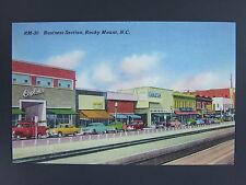 Rocky Mount North Carolina NC Business Section Linen Postcard 1940's Cars