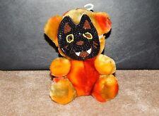 "7"" Dan Dee Dandee Orange Plush halloween Bear Wearing Sequins Mask"