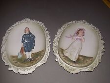 Lefton China Series Pinkie & Blue Boy Kw 3504 Hanging Wall Plates 8 1/4 in Tall