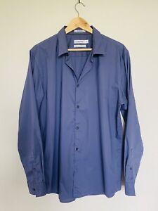 CALVIN KLEIN Men's Purple Size L Button Up Non Iron Classic Business Shirt