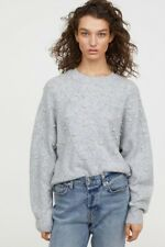 H&M pearl embellished slouchy sweater XL Gray Oversized Drop Shoulders Bloggers