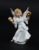 9942873 Porzellan Figur Wagner & Apel Engel mit Schellen Weihnachten H10cm