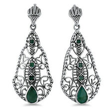 GENUINE EMERALD ANTIQUE DESIGN 925 STERLING SILVER FILIGREE EARRINGS,  #662
