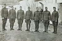 ORIGINAL - WW1 US ARMY INFANTRY SOLDIERS IN FRANCE PHOTO POSTCARD RPPC