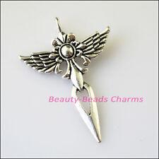 4Pcs Antiqued Silver Tone Wings Flower Cross Charms Pendants 34x47.5mm