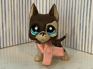 Authentic Littlest Pet Shop Lps 817 Brown Tan Great Dane Teal Star ⭐️ Eyes