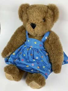 """Vermont Teddy Bear Company Brown Fully Jointed Blue Floral Dress 16"""" USA"""