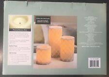 3 Flameless LED Wax Candles Timer White Gray Diamond Quatrefoil Safe Batteries