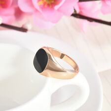 Fashion Solid Polished Stainless Steel Band Biker Men Signet Black Ring Size7-12