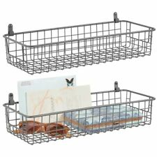 mDesign Metal Wall Mount Hanging Basket Shelf for Home Storage, 2 Pack - Gray