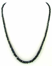 """86 Ct Natural Blue Sapphire Gemstone Rondelle Beads Necklace String 18"""" - B171"""