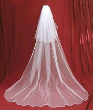 New 2 layers white Wedding Bridal veil Cathedral Length with comb