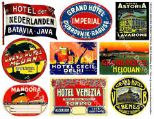 HOTEL LUGGAGE STICKERS, 1 Sheet, 9 Label REPRODUCTIONS for Travel Journal Decor