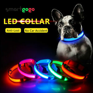 Pets Dog Collars Nylon LED Light USB Recharge Night Safety Light-up BSG