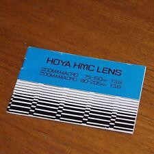 Istruzioni per le lenti Hoya HMC 75-150 mm f3.8 & 80-205 mm f3.8 Zoom Macro Giappone