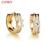 CIFBUY Creole Gold Farbe Clip Ohrring Mode AAA+ Zirkonia Frauen Hochzeit Schmuck