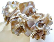 Wide Abalone Shell & Pearl Cuff Flower Bracelet Flexible Hand Made Substantial