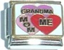 Italian Charm Grandma Mom Me Female Family Love Hearts
