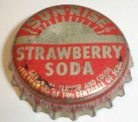 Vintage Sunrise Strawberry Soda Cork Lined Pop Bottle Cap, Dubuque, Iowa