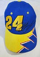 Retro Jeff Gordon 24 NASCAR Hat Snapback Cap Chase Authentics Blue Yellow