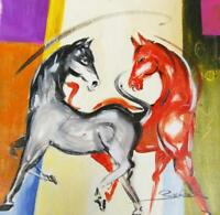 """""""Red & Gray Horse"""" by Alfred Gockel (Fine Art Painting on Canvas)"""