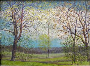 Ölgemälde Lichtung im Frühling, knospender Baum, Landschaftsgemälde, Monogramm