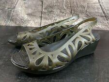Women's CROCS Green Black Wedge Heel Slingback Jelly Sandals Shoes Size 9