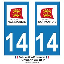2 STICKERS AUTOCOLLANT PLAQUE IMMATRICULATION DEPARTEMENT 14 REGION NORMANDIE